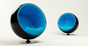 Duas cadeiras azuis da esfera do casulo isoladas no branco Imagens de Stock Royalty Free