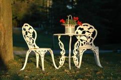 Duas cadeiras de gramado e uma tabela ao ar livre Imagem de Stock Royalty Free