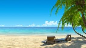 Duas cadeiras de praia à moda na praia tropical da areia Imagens de Stock
