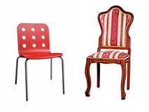 Duas cadeiras isoladas no branco Fotografia de Stock