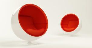 Duas cadeiras vermelhas da esfera do casulo isoladas no branco Imagem de Stock