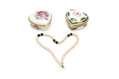 Duas caixas dadas forma coração Fotografia de Stock Royalty Free