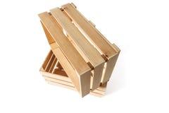 Duas caixas de madeira vazias Foto de Stock Royalty Free