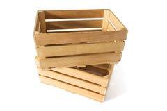 Duas caixas de madeira vazias Fotografia de Stock