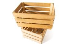 Duas caixas de madeira vazias Fotografia de Stock Royalty Free