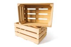 Duas caixas de madeira vazias Foto de Stock