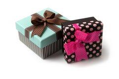 Duas caixas de presente Fotografia de Stock