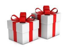 Duas caixas de presente brancas Fotografia de Stock