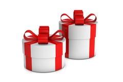 Duas caixas de presente brancas Fotos de Stock Royalty Free