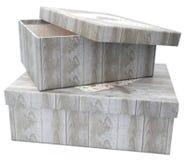 Duas caixas de presente com a cópia de madeira da textura imagens de stock