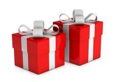 Duas caixas de presente vermelhas Imagem de Stock