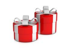 Duas caixas de presente vermelhas Foto de Stock Royalty Free