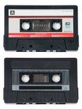 Duas cassetes de banda magnética audio no branco imagens de stock royalty free