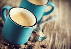 Duas chávenas de café espresso foto de stock royalty free