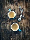 Duas chávenas de café espresso imagens de stock royalty free