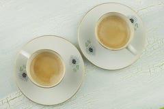 Duas chávenas de café Pequeno almoço romântico Imagem de Stock