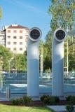 Duas chaminés da ventilação pintadas de aço Foto de Stock Royalty Free