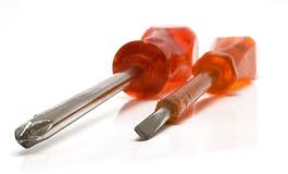 Duas chaves de fenda vermelhas (vista próxima) imagens de stock