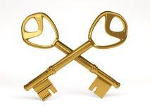 Duas chaves do ouro no fundo branco rendição 3d Fotos de Stock Royalty Free