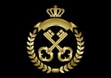Duas chaves douradas quadro com uma grinalda do louro Fotos de Stock Royalty Free