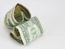 Duas contas de dólar da coração-forma Imagens de Stock