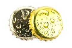 Duas cortiça da cerveja e da limonada fotografia de stock
