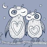 Duas corujas decorativas bonitos Imagem de Stock