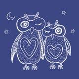 Duas corujas decorativas bonitos Fotos de Stock