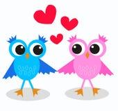 Duas corujas no amor Fotografia de Stock Royalty Free