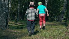 Duas crianças andam com o movimento lento das madeiras verdes vídeos de arquivo