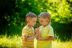 Duas crianças bonitas, amigos de menino, água potável no parque fotos de stock
