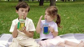 Duas crianças bonitos bebendo a utilização do suco palhas fora vídeos de arquivo