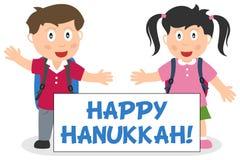 Duas crianças com a bandeira feliz do Hanukkah ilustração do vetor