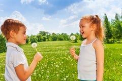 Duas crianças com dentes-de-leão foto de stock