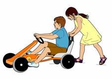 Duas crianças e karting Fotografia de Stock