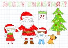 Duas crianças felizes e Santa Claus ilustração royalty free