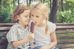 Duas crianças felizes que jogam no parque no tempo do dia fotos de stock royalty free