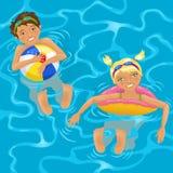 Duas crianças na água ilustração do vetor