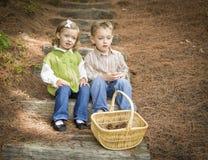 Duas crianças nas etapas de madeira com a cesta de cones do pinho Imagens de Stock Royalty Free