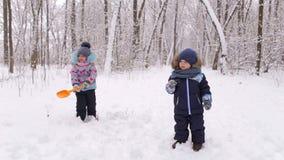 Duas crianças pequenas que jogam no parque do inverno video estoque