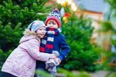Duas crianças que abraçam no mercado do Natal Foto de Stock Royalty Free