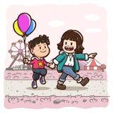 """Duas crianças que andam guardando fundo quadrado cor-de-rosa do parque de diversões do †das mãos """" fotografia de stock"""