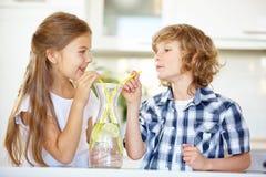 Duas crianças que bebem a água fresca fotos de stock