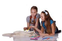 Duas crianças que jogam com o gatinho engraçado bonito imagem de stock