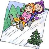 Duas crianças que sledging em um monte ilustração royalty free