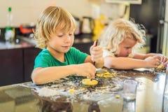 Duas crian?as um menino e uma menina para fazer cookies da massa imagens de stock