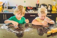 Duas crian?as um menino e uma menina para fazer cookies da massa fotos de stock royalty free