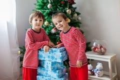 Duas crianças doces, irmãos do menino, abrindo apresentam Foto de Stock Royalty Free