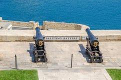 Duas das oito armas cerimoniais de trabalho da bateria de saudação Imagem de Stock Royalty Free