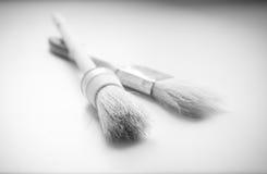 Duas escovas de pintura. Foto de Stock